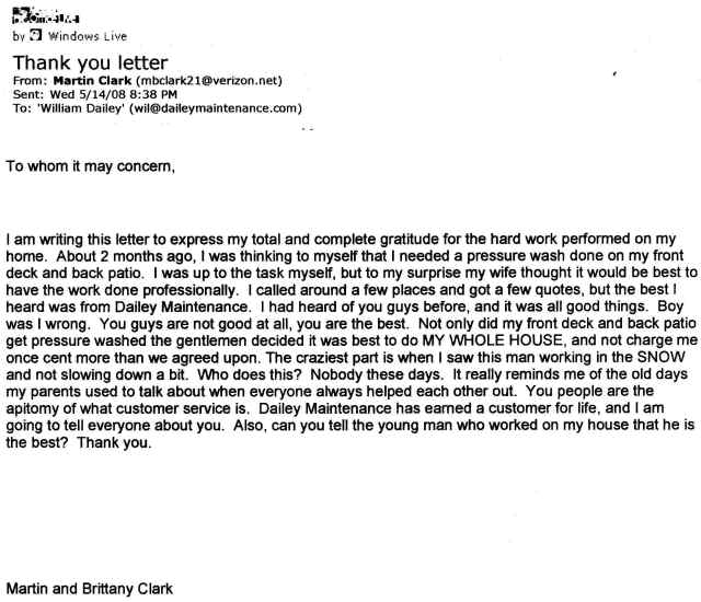 Testimonials dailey maintenance llc thank you letter to whom it may concern spiritdancerdesigns Images
